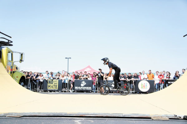 Mykel Larrin was one of five action sports athletes to perform for students.