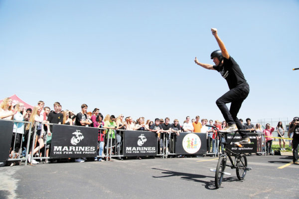Trevor Meyer has won three X Games Gold Medals. He was part of the crew touring Denver-area schools.